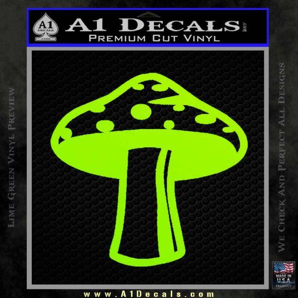 Mushroom Shroom Decal Sticker Lime Green Vinyl