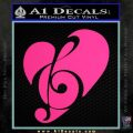 Music Clef In Heart Decal Sticker Pink Hot Vinyl 120x120