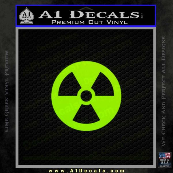 Nuclear Radiation Decal Sticker Lime Green Vinyl
