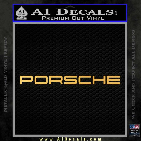 Porche Decal Sticker Wide Logo Gold Vinyl