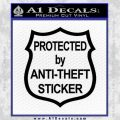 Protected By Anti Theft Decal Sticker Black Vinyl 120x120