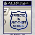 Protected By Anti Theft Decal Sticker Blue Vinyl 120x120