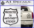 Protected By Anti Theft Decal Sticker Carbon FIber Black Vinyl 120x97