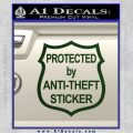 Protected By Anti Theft Decal Sticker Dark Green Vinyl 120x120