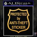 Protected By Anti Theft Decal Sticker Gold Vinyl 120x120