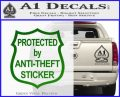 Protected By Anti Theft Decal Sticker Green Vinyl Logo 120x97