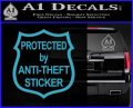 Protected By Anti Theft Decal Sticker Light Blue Vinyl 120x97