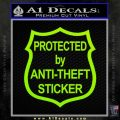 Protected By Anti Theft Decal Sticker Lime Green Vinyl 120x120