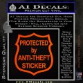 Protected By Anti Theft Decal Sticker Orange Emblem 120x120