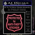 Protected By Anti Theft Decal Sticker Pink Emblem 120x120
