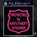 Protected By Anti Theft Decal Sticker Pink Hot Vinyl 120x120