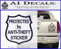 Protected By Anti Theft Decal Sticker PurpleEmblem Logo 120x97