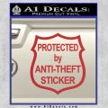 Protected By Anti Theft Decal Sticker Red 120x120