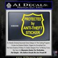 Protected By Anti Theft Decal Sticker Yellow Laptop 120x120