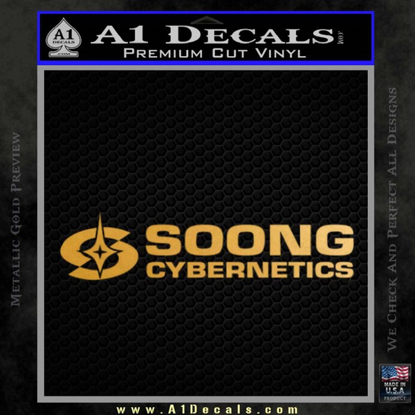 Soong Cybernetics Star Trek Decal Sticker Gold Metallic Vinyl