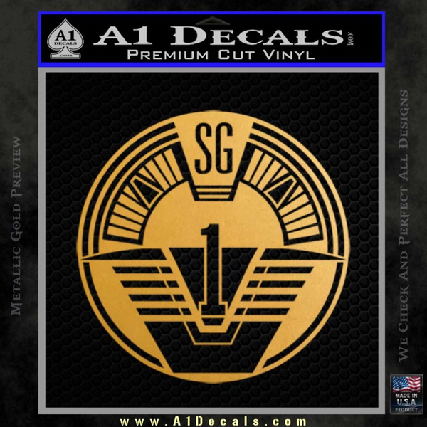 Star Gate SG1 Logo Decal Sticker Gold Metallic Vinyl
