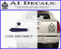 Texas Flag Come and Take It Decal Sticker Purple Vinyl 120x97