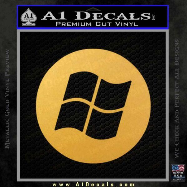 Windows Circle Decal Sticker Gold Vinyl