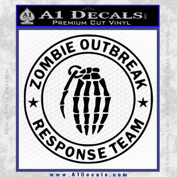 Zombie Outbreak Response Team D2 Decal Sticker Black Vinyl