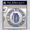 Zombie Outbreak Response Team D2 Decal Sticker Blue Vinyl 120x120