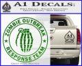 Zombie Outbreak Response Team D2 Decal Sticker Green Vinyl Logo 120x97