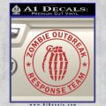 Zombie Outbreak Response Team D2 Decal Sticker Red 120x120
