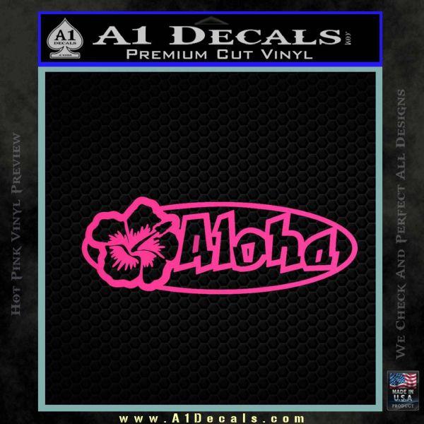 Aloha Hibiscus Decal Sticker Pink Hot Vinyl