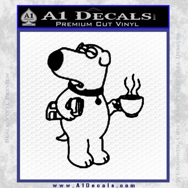 Family Guy Brian Decal Sticker Coffee Black Vinyl