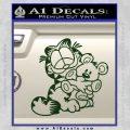 Garfield w Pookie Decal Sticker Dark Green Vinyl 120x120