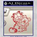 Garfield w Pookie Decal Sticker Red 120x120