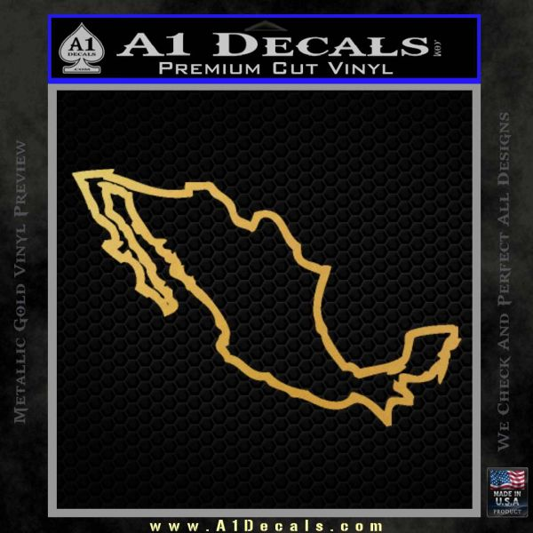 Mexico Decal Sticker Gold Vinyl