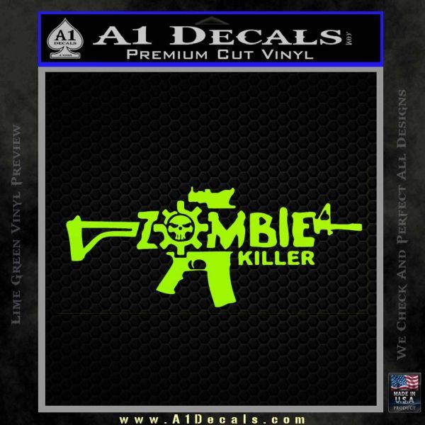 Zombie Killer AR 15 Decal Sticker Lime Green Vinyl