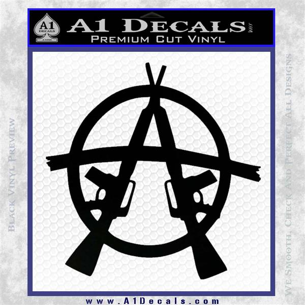 Anarchy M 16 Rifles Decal Sticker Black Logo Emblem