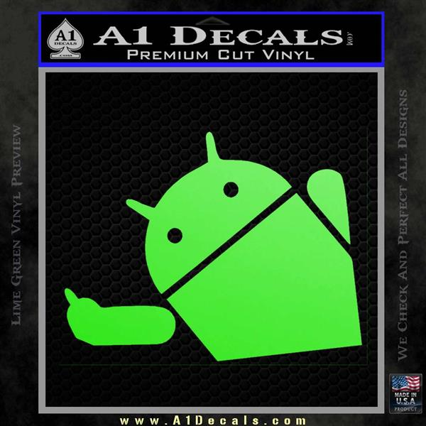 Android Middle Finger Decal Sticker Lime Green Vinyl