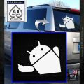 Android Middle Finger Decal Sticker White Emblem 120x120