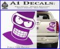 Angry Bender 3D Futurama Decal Sticker Purple Vinyl 120x97