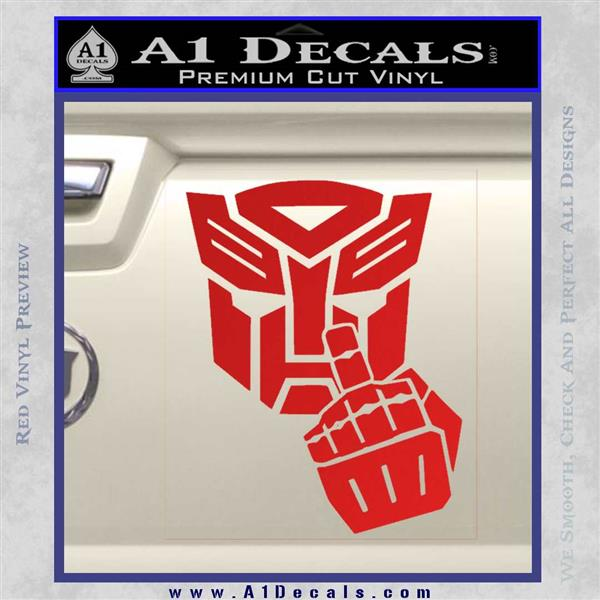 Autobot The FInger Decal Sticker Transformers Red Vinyl