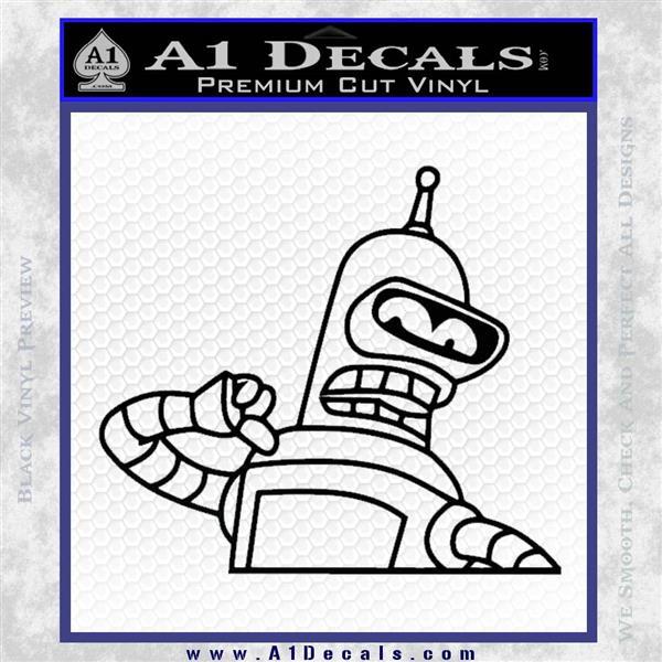 Bender Decal Sticker Bite My Shiny Metal Ass Black Logo Emblem