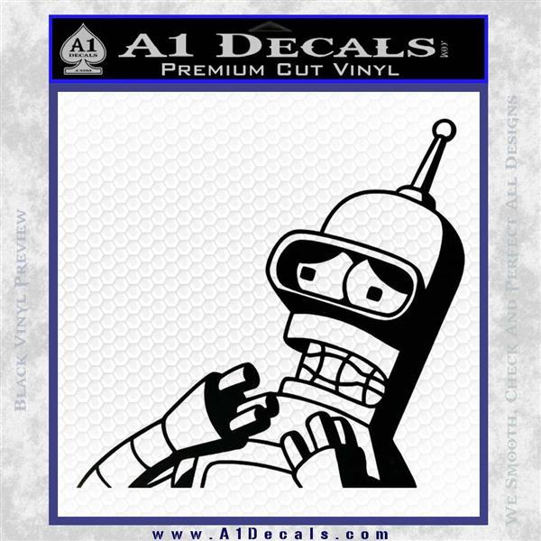 Bender Worried Decal Sticker Futurama Black Logo Emblem