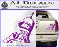 Bender Worried Decal Sticker Futurama Purple Vinyl 120x97