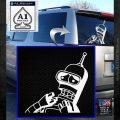 Bender Worried Decal Sticker Futurama White Emblem 120x120