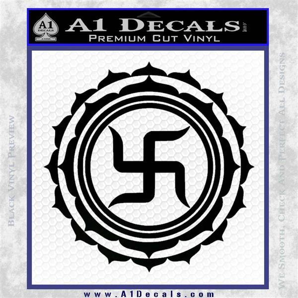 Buddha Spiritual Swastika Lotus Buddhism Decal Sticker Black Logo Emblem