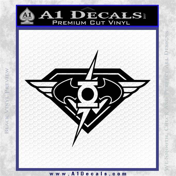 DC Super Heros Justice League Mashup Decal Sticker Black Logo Emblem