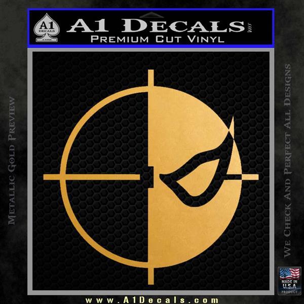 Deathstroke emblem DLB Decal Sticker Metallic Gold Vinyl Vinyl
