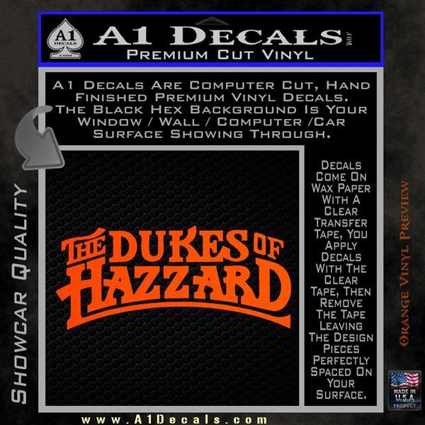 Dukes of Hazzard T1 Decal Sticker Orange Vinyl Emblem
