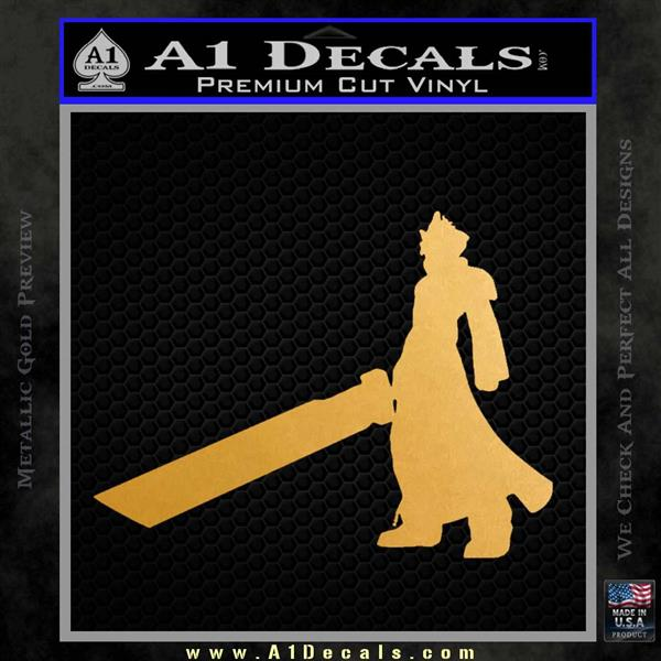Final Fantasy 7 Cloud Decal Sticker DP Metallic Gold Vinyl Vinyl