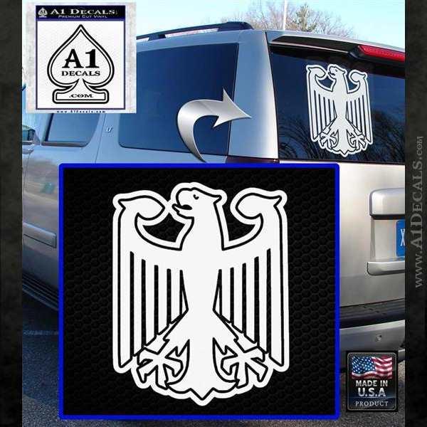 German Eagle Crest Deutschland Germany Flag Decal Sticker White Emblem