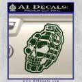 3D Skull Grenade Decal Sticker Dark Green Vinyl 120x120