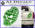 3D Skull Grenade Decal Sticker Green Vinyl 120x97
