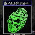 3D Skull Grenade Decal Sticker Lime Green Vinyl 120x120